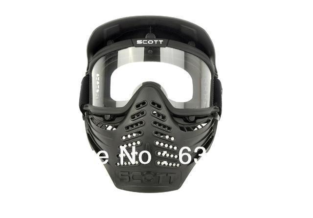 Tactical Paintball Airsoft War Game Full Face Protective Safety Mask with Goggle ...
