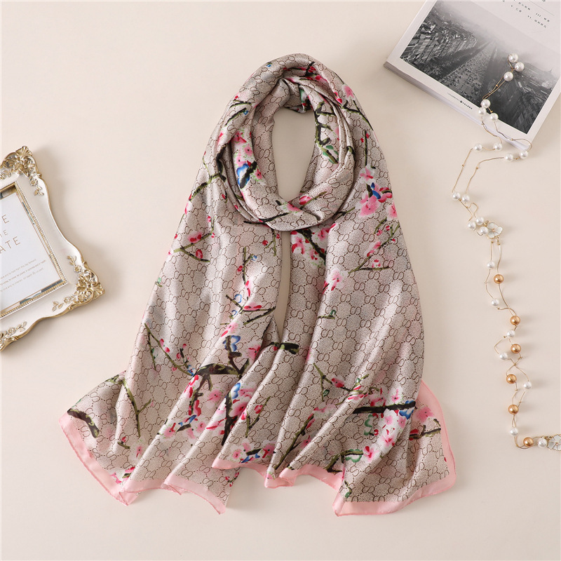 2019 New Womens Silk   Scarves   Elegant Ladies Floral Print Shawls and   Wraps   Female Beach Stole Summer Sunscreen Pashmina Bandana