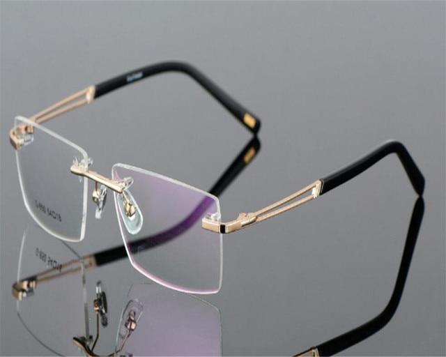 94511d5389 DOWER ME Business Men Fashion Rimless Super Light Myopia Eyewear Black Gold  Clear Lens Optical Eyeglasses Frame MS650