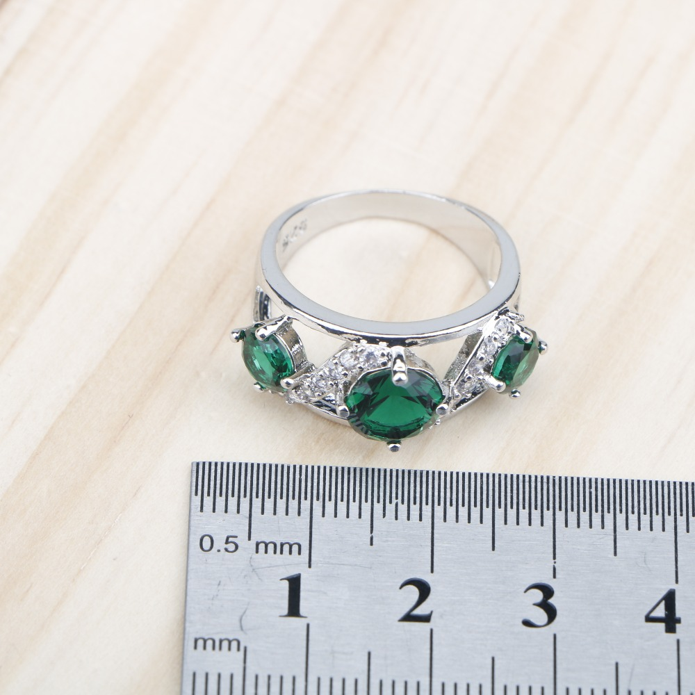 Green Stones White Zircon Women Silver 925 Jewelry Sets Earrings Pendant Necklace Rings Bracelets For Bridal Set Free Box in Bridal Jewelry Sets from Jewelry Accessories
