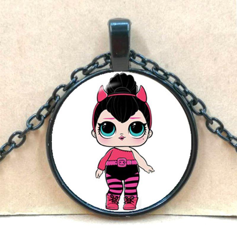 Мультяшное ожерелье с изображением куклы милое детское блестящее платье принцессы куклы стеклянные ожерелья аниме для детей подарок на день рождения - Окраска металла: black 4