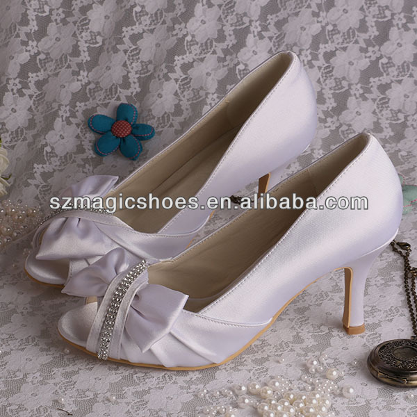 Wedopus MW089 White Wedding Shoes Medium Heels Bridal Shoes with Bow Dropship