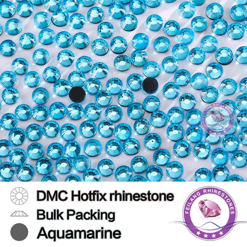 SS16 200Gross/bag Aquamarine Bulking Packing DMC HotFix Rhinestone For Garments Bags And Shoes Crystals Strass Stones DIY