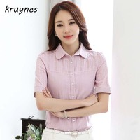 2017 Summer new office shirt women fashion short sleeve hollow out button splicing blouses blue white and pink slim casual tops