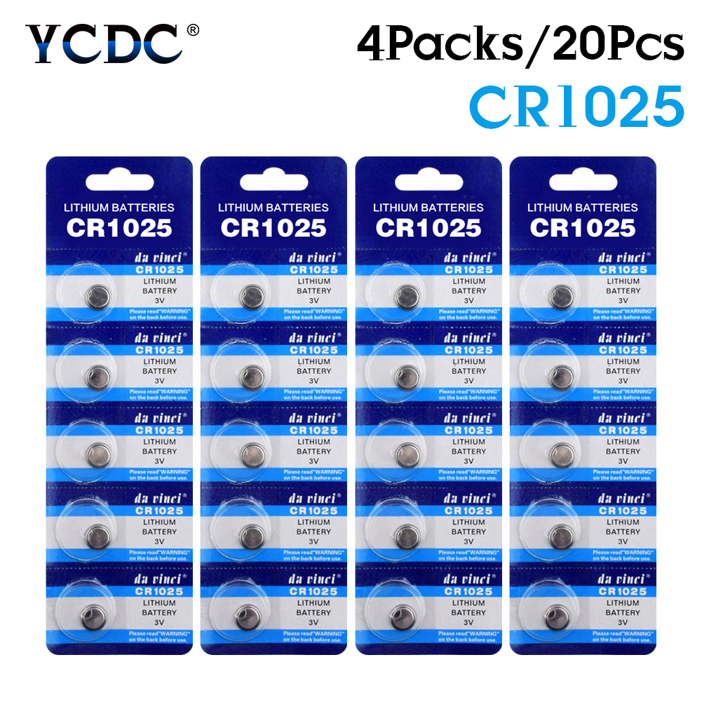 YCDC 20pcs Powerful 3v CR1025 Lithium Single Use Coin Cell Battery Replacement CR1025 Button Coin Batteries Long Lasting CR1025