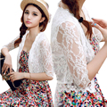 New 2016 women summer chiffon lace blouse embroidery half sleeves lady top coat shawl cardigan Hook flower Hollow out shirt S~XL