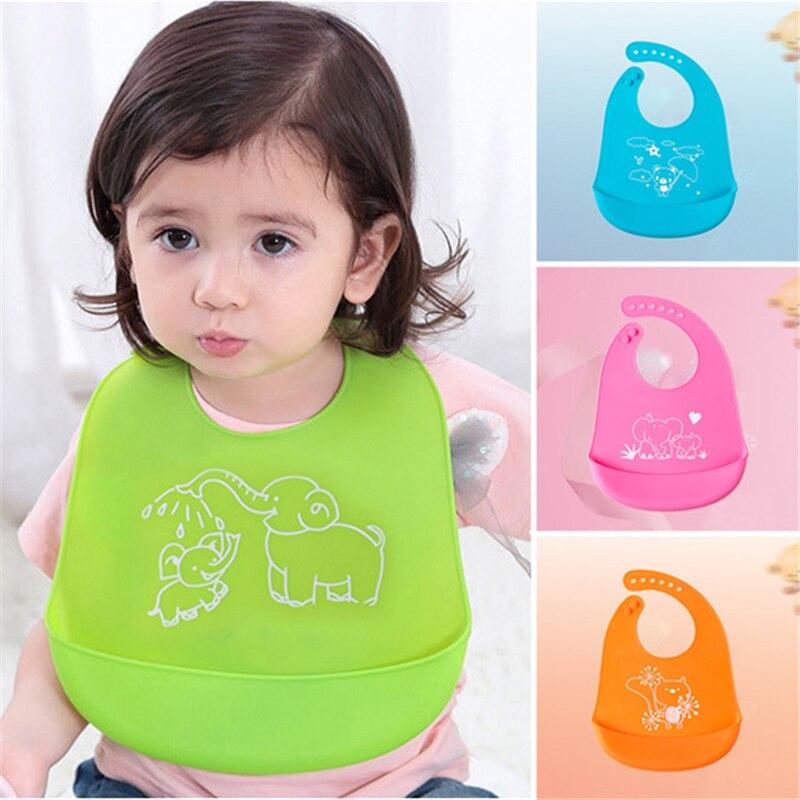 Baby silicone bibs waterproof plastic bibs easy clean silicone baby bibs adjustable plastic baby Bibs 4 Color Baby Saliva Towel