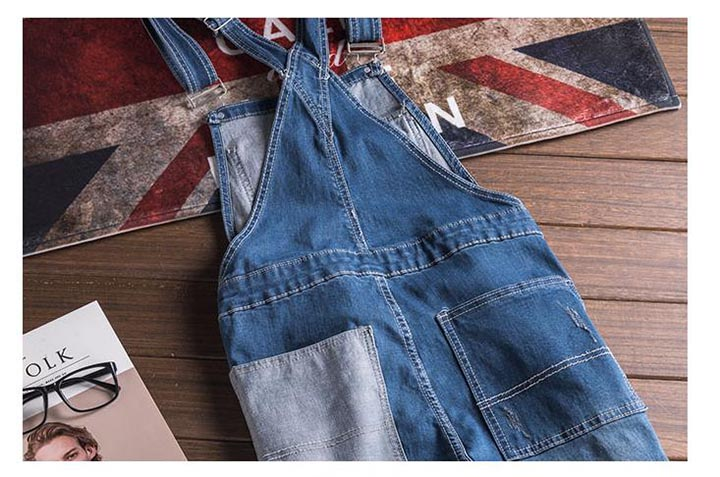 Fashion Style Men\`s Jeans Jumpsuit With Multi-pockets Blue Slim Fit Casual Streetwear Jumpsuit For Male Suspender Size S-3XL (9)