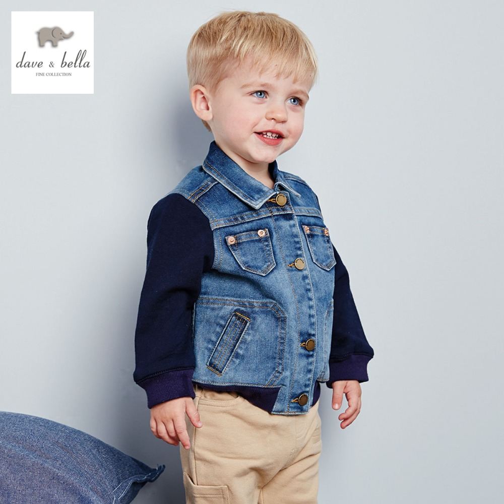 ФОТО DB2878 dave bella spring autumn baby boy jeans jacket infant outerwear toddle clothes boys coats fashionable jeans coat