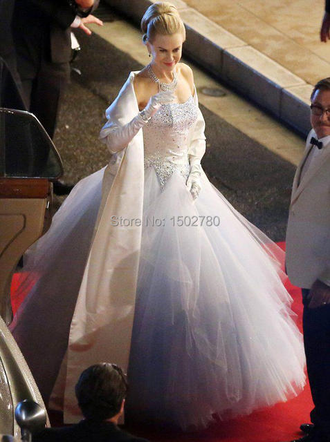 Luxury Grace of Monaco Nicole Kidman Bridal Gown Crystals Strapless ...