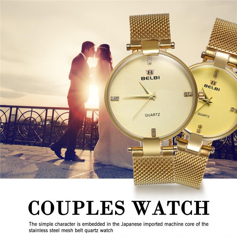 Lovers Couple Watch Lancardo Brand Mens Womens Crystal Watches Luxury Fashion Business Gold Mesh Strip Watch Quartz Wrist Watch
