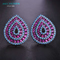 MECHOSEN Newest Mix Color Rhinestones Stud Earrings For Women Gun Black Plated Heart Boucles d'oreilles Femme AAA Zirconia Joyas