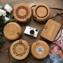 Vintage Handmade Rattan Woven Shoulder Bags PU Leather Straps Bow Hasp Holiday B