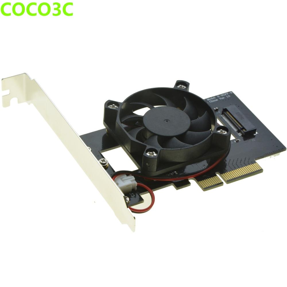 все цены на M Key M.2 SSD Adapter for SAMSUNG 950 PRO SM951 NGFF PCI express SSD slot to Desktop PCIe 4x Card with Fan Coolling онлайн
