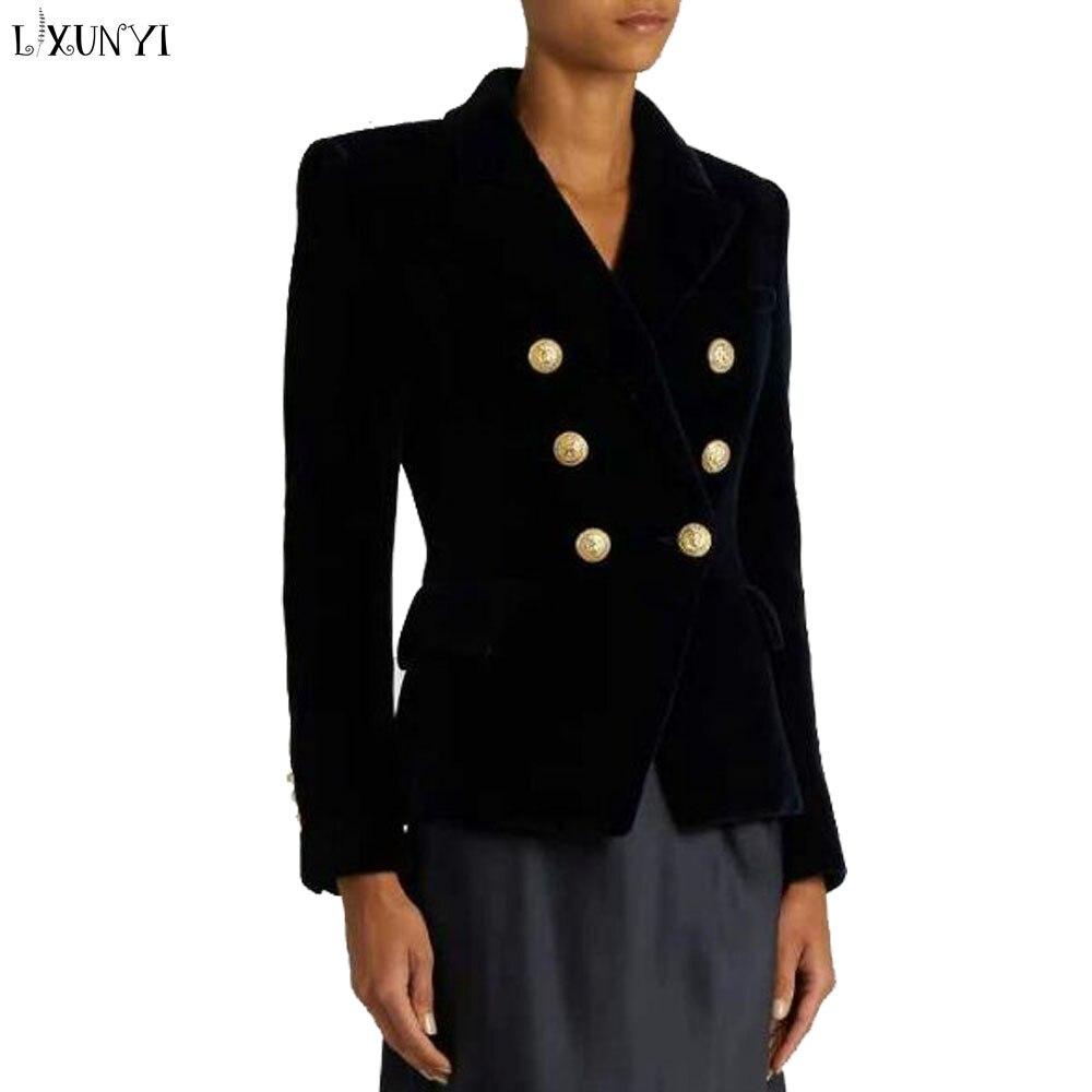 LXUNYI dames velours manteau femmes 2019 printemps Slim vestes court européen femmes mode Double boutonnage costume veste