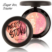Makeup Baked Blush Pro Fashion Women Beauty Facial Face Baking Blush Blusher Power Powder Palette with Brush