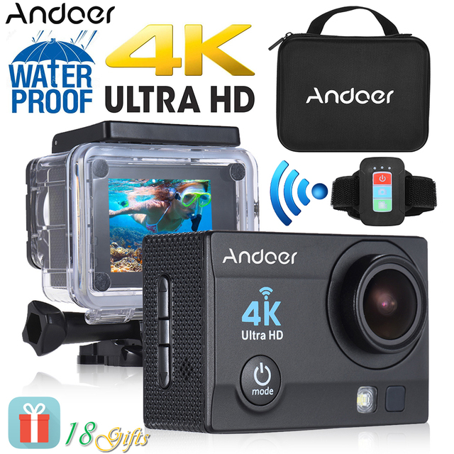 """Andoer Q3H-R 2"""" LCD 4K WiFi Sports Camera 1080P Full HD 170 Wide-Angle Action Video Camera w/ Remote Control + Waterproof Case"""