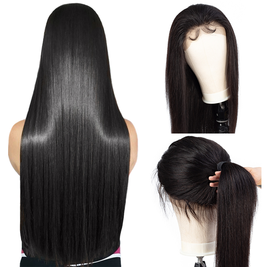 Piaoyi 360 Lace Front Wig Straight Remy Human Hair Wigs Brazilian Pre Plucked Hairline With Baby