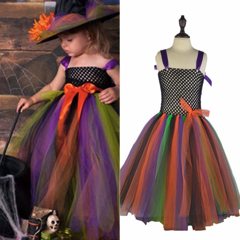 Spooky Witch Tutu Dress for Girls Children Halloween Christmas Costume Princess Kids Fancy Clothing Cosplay Evening Ball Gown newest girls princess tutu dress cosplay elsa dress christmas halloween costume for kids performance birthday dresses vestidos