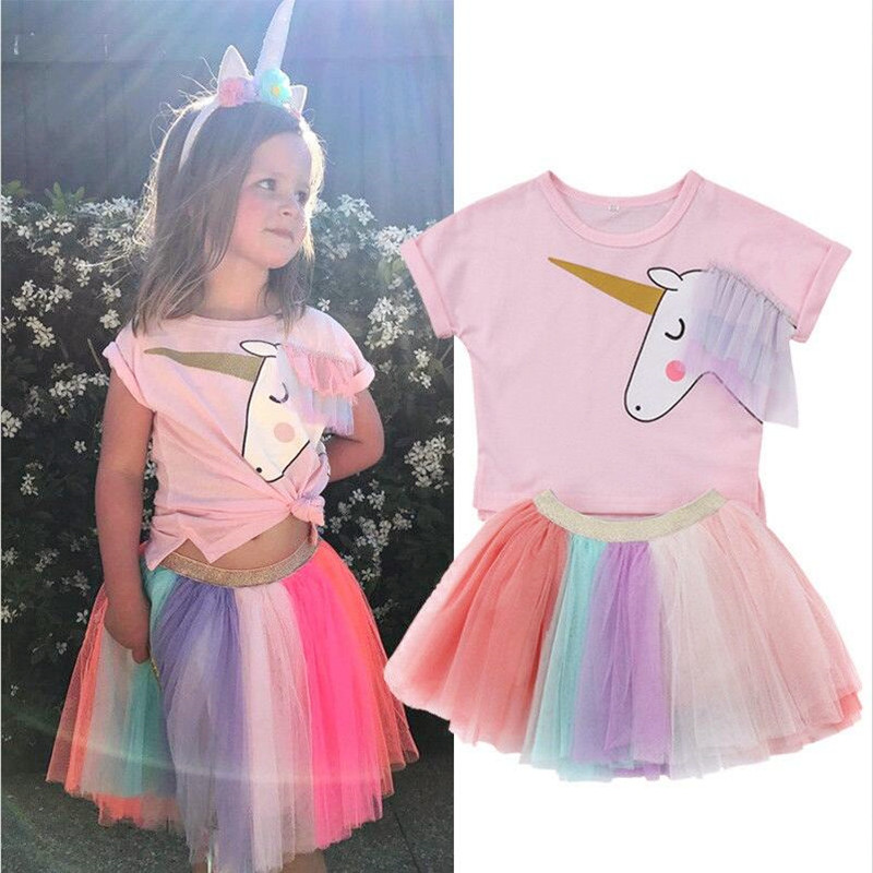 Bärenführer Mädchen Kleidung Setzt Neue Mode-stil Cartoon Unicorn Gedruckt T-Shirts + Net Schleier Kleid 2 Stücke Mädchen Kleidung Sets