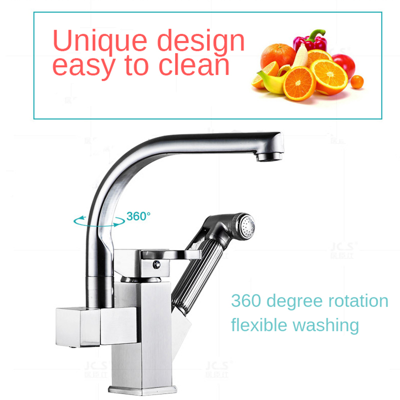Onyzpily Kitchen Faucets Pull Out High Standard Polished Chrome Dual Spout 360 Rotation Cold And Hot Kitchen Taps With Pipes