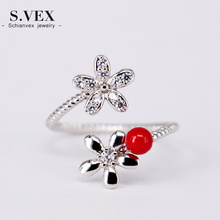 2017 New Arrival Flower Ring Korea Style Red Bead Rings Opening Fashion Jewelry for Women gift RG17D012