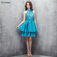 Favodear 100% New Fashion Stunning Bead Mini Homecoming Dress Satin Turquoise Halter Short Homecoming Dresses With Back Key Hole