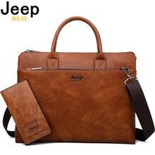 7b634cd03f9e7 JEEP BULUO wysokiej jakości mężczyźni teczki zestaw do 14 cal laptopa torby  biznesowe torebki biurowe skórzane