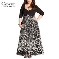 2017 Spring Summer 4XL Plus Size Women Dresses Casual Pot Printed 5XL Large Size Dress Elegant