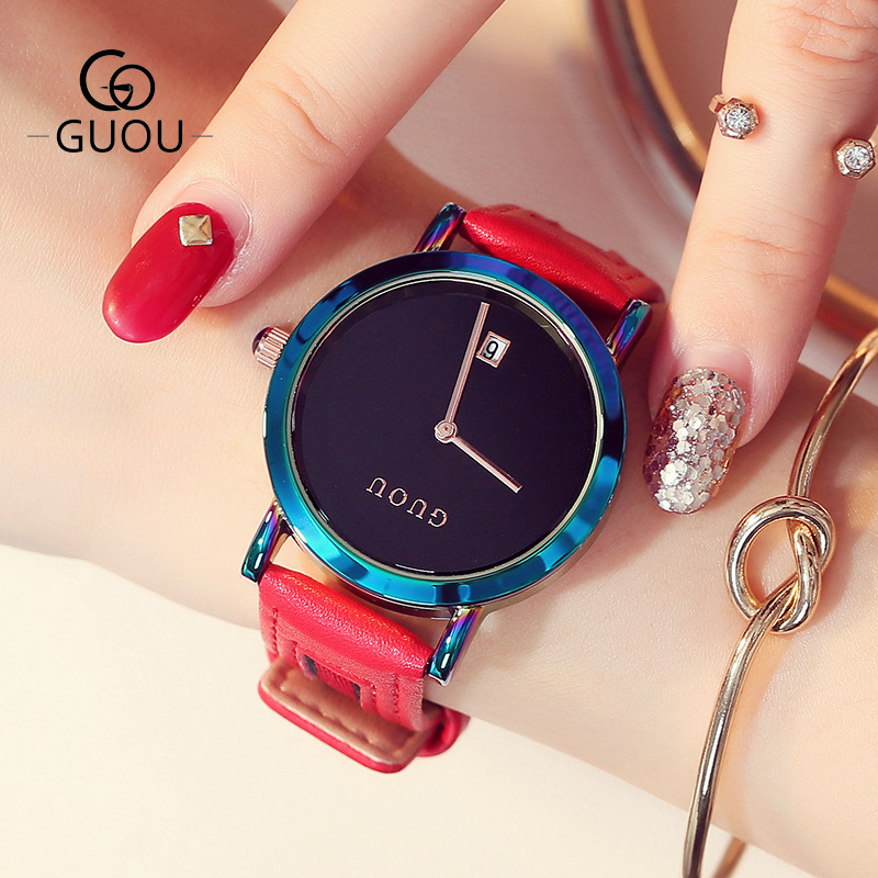 GUOU 2018 Quartz Leather Watch for Women Simple Clock Auto Date Quartz Movement Women-watches Ladies Female Watches reloj mujer