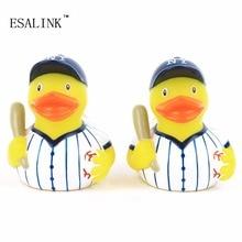 Купить с кэшбэком 2pc/lot Bath Toys Shower Water Floating Squeaky yellow Rubber Ducks Baby Toys bath toys