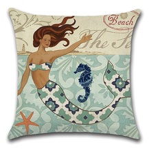 2pcs/set Cushion Cover For Sofa Sea Star Mermaid Hippocampus Anchor Coral Vintage Pattern Throw Pillow Case Car Home Decorative