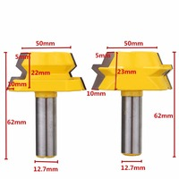 2pcs Strong Router Bit 1 2 Shank Carbide Alloy 22 5 Degree Router Bits Lock Miter