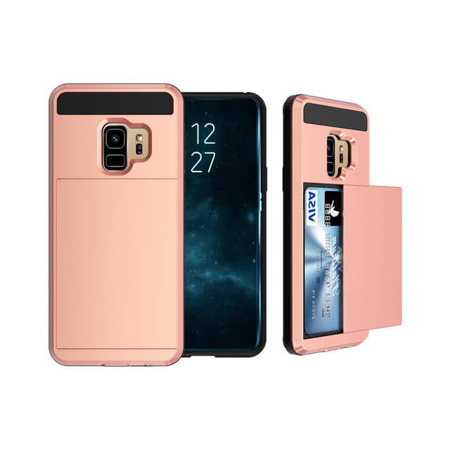 49832f90fdcf US $2.96 10% OFF|Slider Card Slot Armor Case For Samsung Galaxy S9 S9+  S9Plus Hard PC Soft TPU Slide Cover Card Pocket Armor Case For Galaxy S9-in  ...