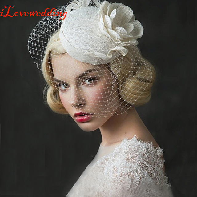 2016 Beige Bridal Hat with Pearls Linen with Lace Women Wedding Accessories Bride Hats handmade Tiara sheer veil Hair ornaments