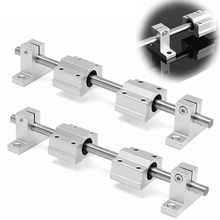 2pcs 200mm Chrome Rail Shaft with 4pcs SCS8UU SK8 Linear Bearing Blocks 3D Printer CNC Kit