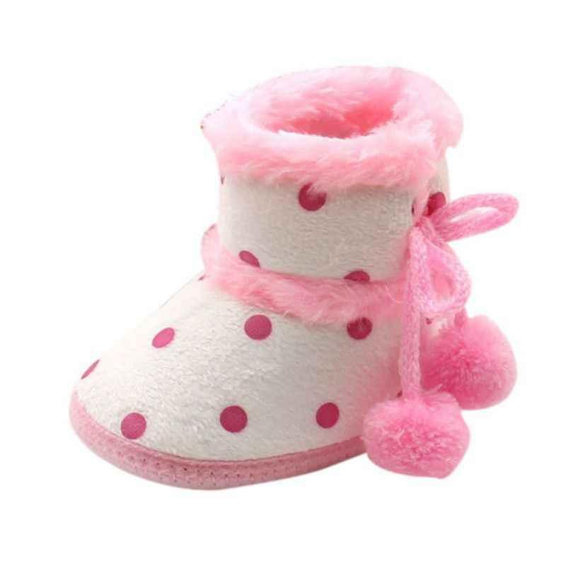 Обувь для маленьких девочек; теплые флисовые ботинки для малышей; обувь для маленьких девочек в горошек; зимние ботинки на шнуровке; зимние теплые ботиночки с мягкой подошвой