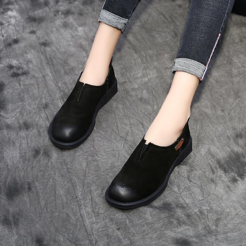 Sur Douces Chaussures De Cuir D'été Femmes Nouveau Dames Glissent Printemps En Mocassins Black Des Mode Décontractés Véritable Appartements Vintage Oxford brown UqxWO4wXWf