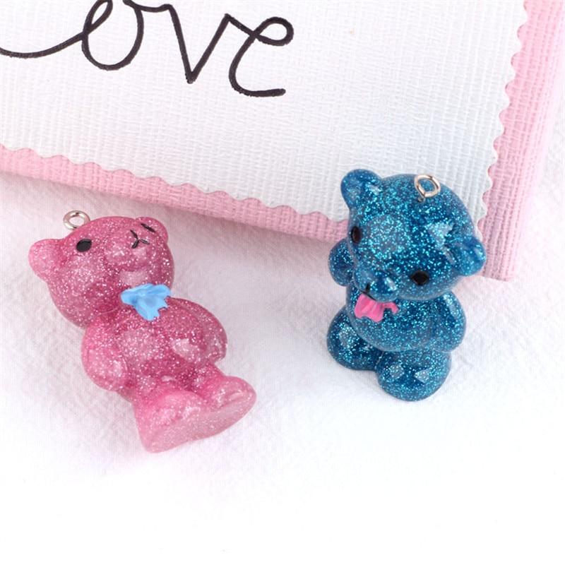 DIY handmade jewelry accessories materials Korea resin pearl glitter bear earrings phone bag pendant Ornaments Necklace Charms