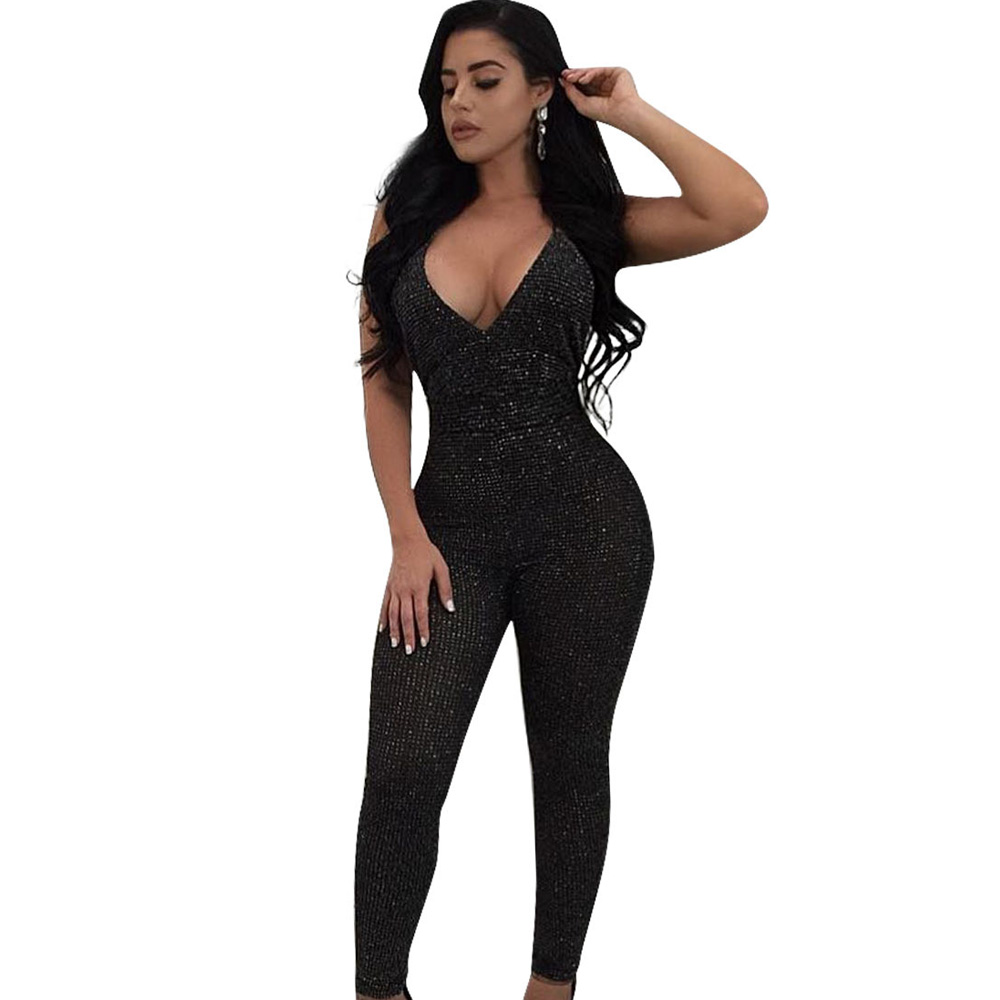 Sexy black bodycon bandage club party long jumpsuit women romper 2018 summer sleeveless deep v neck backless criss cross overall