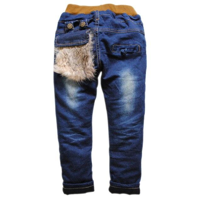 6326 деним и флиса зима мальчик джинсы девушка брюки темно-синий брюки моды
