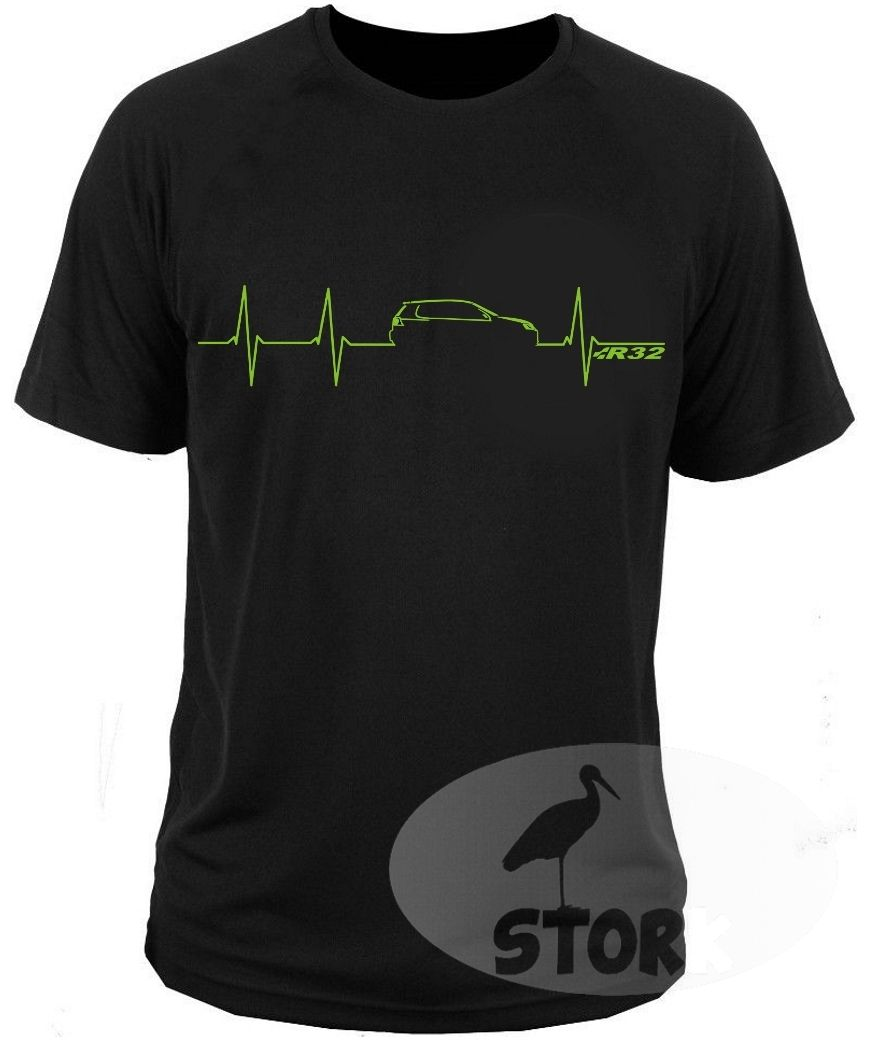 2018 New Cool Tee Shirt T-shirt Germany Auto Car Golfs V Heartbeat R32