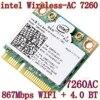 New Intel Dual Band Wireless-AC7260 ac7260 7260HMW 7260AC 7260ac 802.11ac MINI PCI-E Card 2.4G/5G 2x2 WiFi Bluetooth 4.0