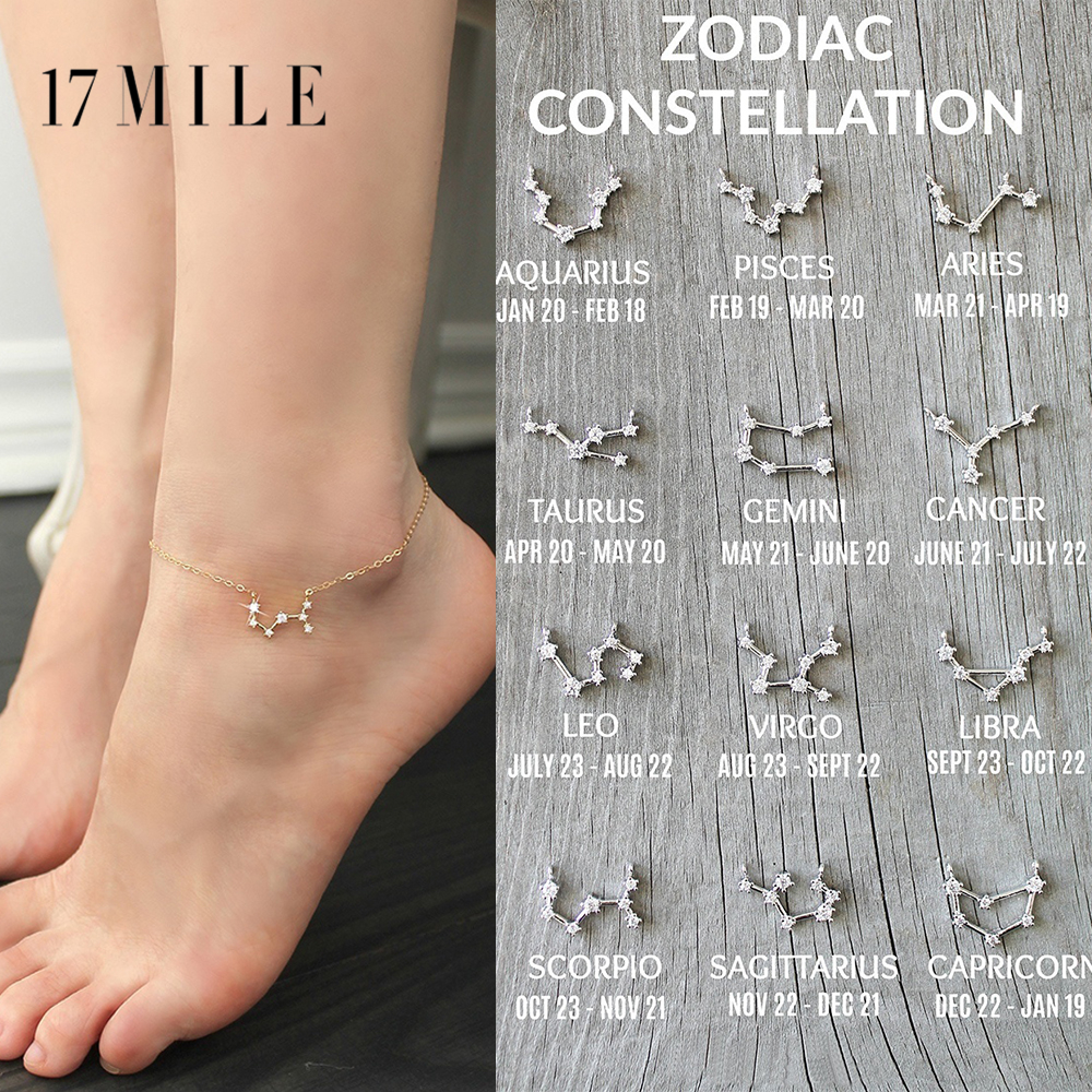 Bohemian 12 Zodiac Constellation Anklets For Women Vintage Gold Silver Color Crystal On Leg Bracelet Anklet Fashion Jewelry