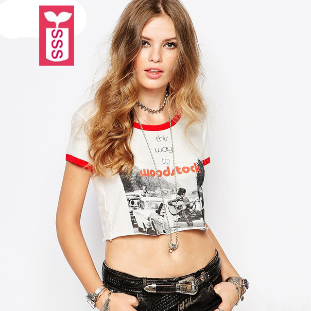 """SSS Rock and roll style 2017 Womens short sleeve print """"woodstock"""" T-shirts ladys midriff shirts crop tops short black tees"""