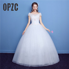 Lace Colorful Embroidery Wedding Dress 2018 New Fashion with Pink Flower  Short Sleeve Korean Bridal Princess 34a214bab0ac