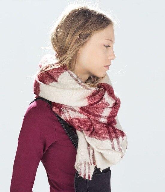 Za marca mujeres de moda bufanda 2014 Wool Blend invierno espesar calor suave bufanda chales grandes 140 * 140 CM