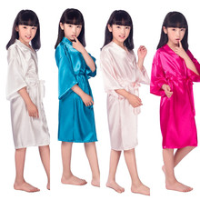 2017 Satin Pajama Kid / Children Sleepwear Wedding Flower girls Gown High Quality Kimono Robes Solid Color Nightgown 010604(China)