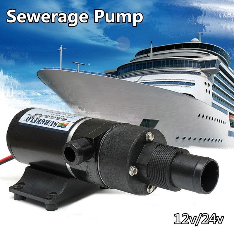 12/24V 45LPM DC Macerator Sewerage Waste Water Pump Self priming Easy Clean For Boat Caravan Toliet Marine Rv Caravan Yacht Sea