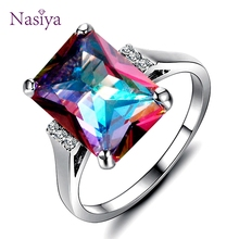 Nasiya Created Mystic Fire Rainbow Topaz Rings 10x14MM Big Gemstone Solid 925 Sterling Silver Jewelry Ring Party Wedding Gifts